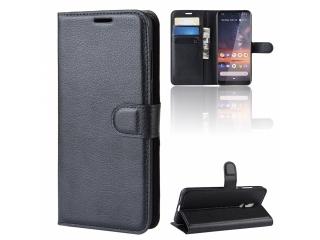 Nokia 3.2 Leder Hülle Portemonnaie Karten Ledertasche schwarz