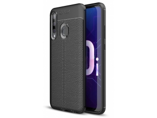 Honor 20 Lite Leder Design Gummi Hülle TPU Thin Case flexibel schwarz