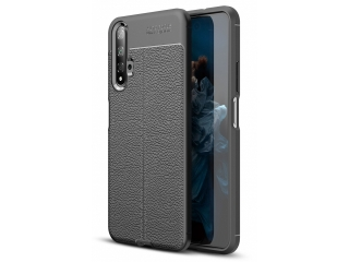 Honor 20 Leder Design Gummi Hülle TPU Thin Case flexibel schwarz