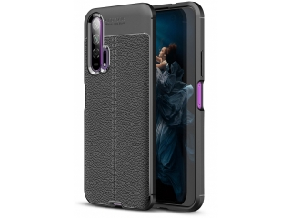 Honor 20 Pro Leder Design Gummi Hülle TPU Thin Case flexibel schwarz