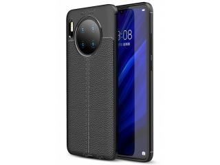 Huawei Mate 30 Leder Design Gummi Hülle TPU Thin Case flexibel schwarz