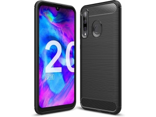 Honor 20 Lite Carbon Gummi Hülle TPU Thin Case Cover flexibel schwarz