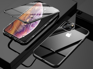 iPhone 11 Pro Max Magnetische Alu Hülle Panzerglas 2-seitig schwarz