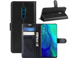 Oppo Reno 5G Leder Hülle Portemonnaie Karten Ledertasche schwarz
