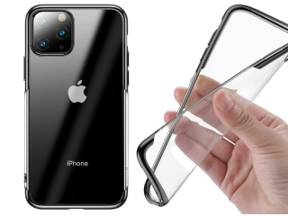 Baseus iPhone 11 Pro Gummi Hülle dünnes 0.8mm Case schwarz transparent