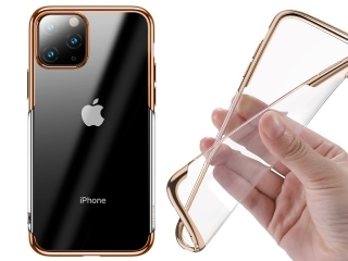 Baseus iPhone 11 Pro Gummi Hülle dünnes 0.8mm Case gold transparent