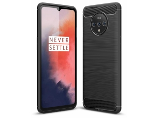 OnePlus 7T Carbon Gummi Hülle TPU Thin Case Cover flexibel schwarz