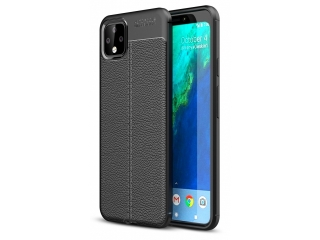 Google Pixel 4 XL Leder Design Gummi Hülle TPU Soft Thin Case schwarz