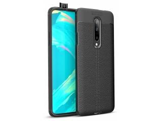 OnePlus 7 Leder Design Gummi Hülle TPU Thin Case flexibel schwarz
