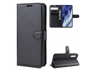 Xiaomi Mi 9 Pro Leder Hülle Portemonnaie Karten Ledertasche schwarz