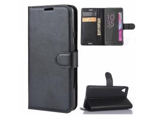 Sony Xperia X Leder Hülle Portemonnaie Karten Ledertasche schwarz
