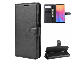 Xiaomi Redmi 8A Leder Hülle Portemonnaie Karten Ledertasche schwarz