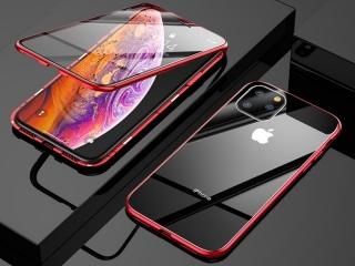 iPhone 11 Pro Magnetische Alu Hülle Panzerglas Vorne & Hinten rot