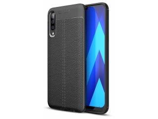 Samsung Galaxy A70s Leder Design Gummi Hülle TPU Case Cover schwarz