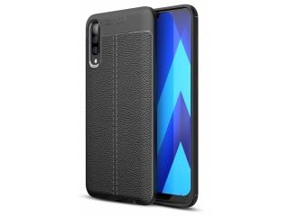 Samsung Galaxy A30s Leder Design Gummi Hülle TPU Case Cover schwarz