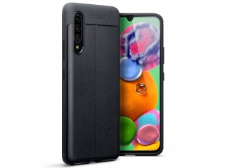 Samsung Galaxy A90 5G Leder Design Gummi Hülle TPU Case Cover schwarz