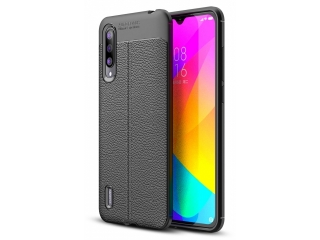 Xiaomi Mi 9 Lite Leder Design Gummi Hülle TPU Case Cover schwarz