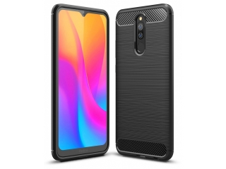 Xiaomi Redmi 8A Carbon Gummi Hülle TPU Case Cover flexibel schwarz