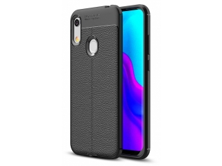 Honor 8A Leder Design Gummi Hülle TPU Case Cover schwarz