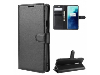 OnePlus 7T Pro Leder Hülle Portemonnaie Karten Ledertasche schwarz