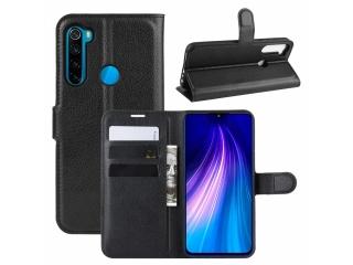 Xiaomi Redmi Note 8T Leder Hülle Portemonnaie Karten Ledertasche schwa
