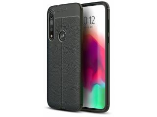 Motorola Moto G8 Plus Leder Design Gummi Hülle TPU Case Cover schwarz