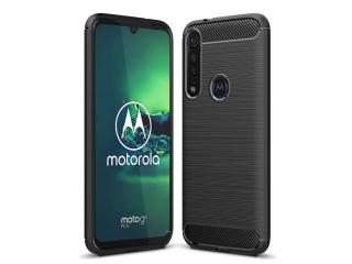 Motorola Moto G8 Plus Carbon Gummi Hülle TPU Case Cover schwarz