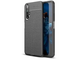 Huawei Nova 5T Leder Design Gummi Hülle TPU Case Cover schwarz