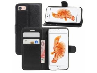 iPhone 7 Leder Hülle Portemonnaie Karten Ledertasche schwarz