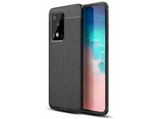 Samsung Galaxy S20 Ultra Leder Design Gummi Hülle TPU Case schwarz