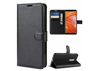 Nokia 3.1 Plus Leder Hülle Portemonnaie Karten Ledertasche schwarz