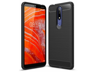Nokia 3.1 Plus Carbon Gummi Hülle TPU Case Cover flexibel schwarz