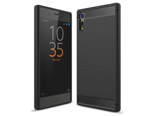 Sony Xperia XZs Carbon Gummi Hülle TPU Case Cover flexibel schwarz