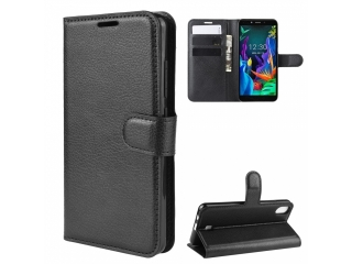 LG K20 Leder Hülle Portemonnaie Karten Ledertasche Etui schwarz