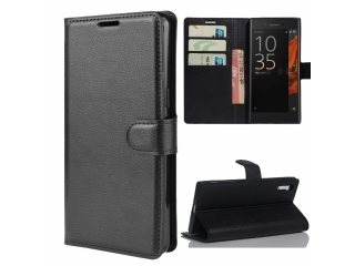 Sony Xperia XZs Leder Hülle Portemonnaie Karten Ledertasche schwarz