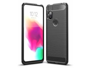 Motorola One Hyper Carbon Gummi Hülle TPU Case Cover flexibel schwarz