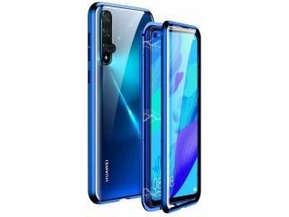Huawei Nova 5T Magnetische Alu Hülle Panzerglas Vorne & Hinten blau