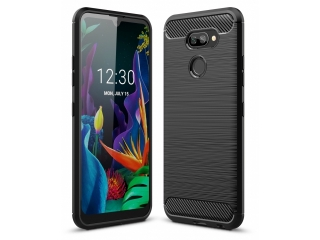 LG K40S Carbon Gummi Hülle TPU Case Cover flexibel schwarz