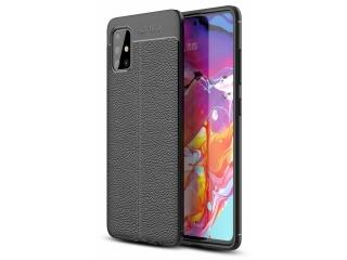 Samsung Galaxy A51 Leder Design Gummi Hülle TPU Case Cover schwarz