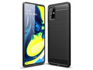 Samsung Galaxy A71 Carbon Gummi Hülle TPU Case Cover flexibel schwarz