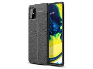 Samsung Galaxy A71 Leder Design Gummi Hülle TPU Case Cover schwarz