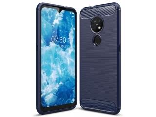 Nokia 7.2 Carbon Gummi Hülle TPU Case Cover flexibel navy blau