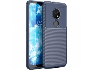 Nokia 7.2 Carbon Design Hülle TPU Case Cover flexibel navy blau