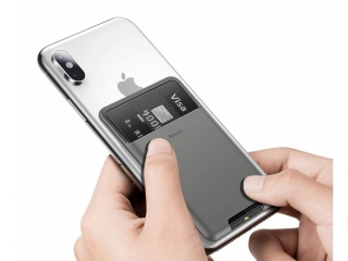 Baseus Kartenetui Halterung zum Aufkleben an Smartphone dunkelgrau