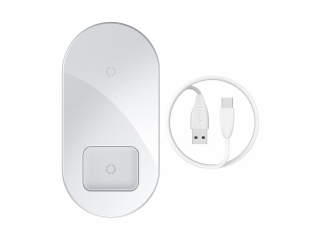 Baseus Dual Qi Wireless Ladegerät Ladestation iPhone Airpods weiss