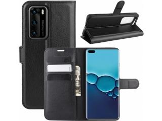 Huawei P40 Leder Hülle Portemonnaie Karten Ledertasche schwarz