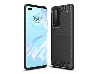 Huawei P40 Pro Carbon Gummi Hülle TPU Case Cover flexibel schwarz