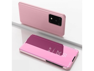 Samsung Galaxy S20 Ultra Flip Cover Clear View Case transparent rosa