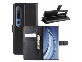 Xiaomi Mi 10 5G Leder Hülle Portemonnaie Karten Ledertasche schwarz