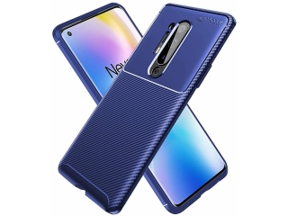 OnePlus 8 Pro Carbon Design Hülle TPU Case Cover flexibel navy blau